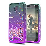 Alcatel Verso/IdealXCITE/CameoX/Ideal Exite Phone/5044R Case with HD Screen Protector,KaiMai Glitter Moving Quicksand Clear Cute Shiny Girls Women Phone Case for Alcatel 5044R-Aqua/Purple
