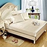 Niagara Sleep Solution Queen Cream Bed Sheet Set 4 Pieces Silky Smooth Bridal Satin Deep Pocket Fitted, Flat, 2 Pillow Cases Wrinkle Stain, Fade Resistant (Cream Satin, Queen)