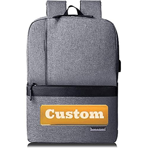 Mochila personalizada de personal personalizada Mujeres 15.6 Bolso portátil para hombres USB Mochila Chicas (Color : Grey, Size : One size)