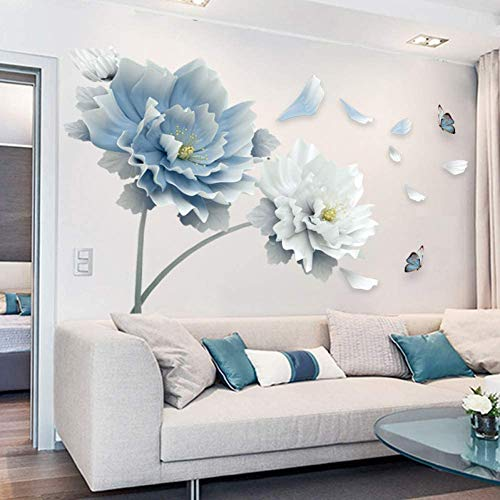 YLBHD 3D Large White Blue Flower Lotus Butterfly Removable Wall Stickers Wall Art Decals Mural Art For Living Room Bedroom Home Decor