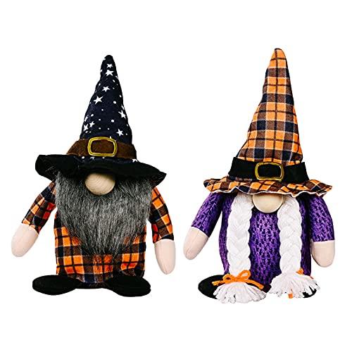2unids Halloween Gnomos De Peluche, Hecha a Mano Bruss Tomte Gnomo, Granja Ornamento Navideño Casa Decoración De Mesa