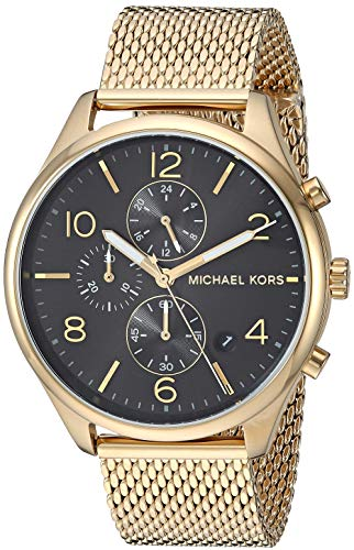 Michael Kors Men's Merrick Analog-Quartz Watch with Stainless-Steel-Plated Strap, Gold, 20 (Model:...