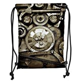 LULUZXOA Gym Bag Printed Drawstring Sack Backpacks Bags,Industrial Decor,Pieces of Old Mechanism Close Up Gears View Grunge Antique Cogs Technical Image Decorative,Sepia Soft Satin