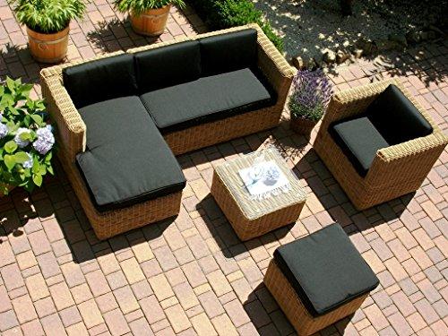 bomey Lounge Wohnlandschaft Sofa Sessel Tisch Hocker Rattan Polyrattan Geflecht Gartenmöbel beige-braun Marseille