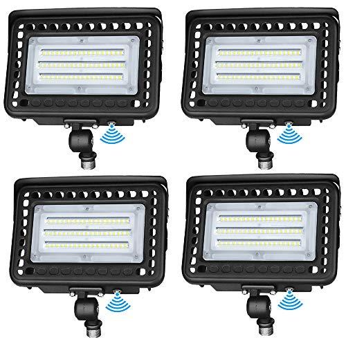LEDMO LED Flood Light Dusk-to-Dawn Photocell 180° Adjustable Knuckle, 60W (300W Equivalent), Waterproof IP65 Outdoor Area Lighting, 5000K 7800lm 100-277Vac ETL Qualified DLC Listed (4 Pack)