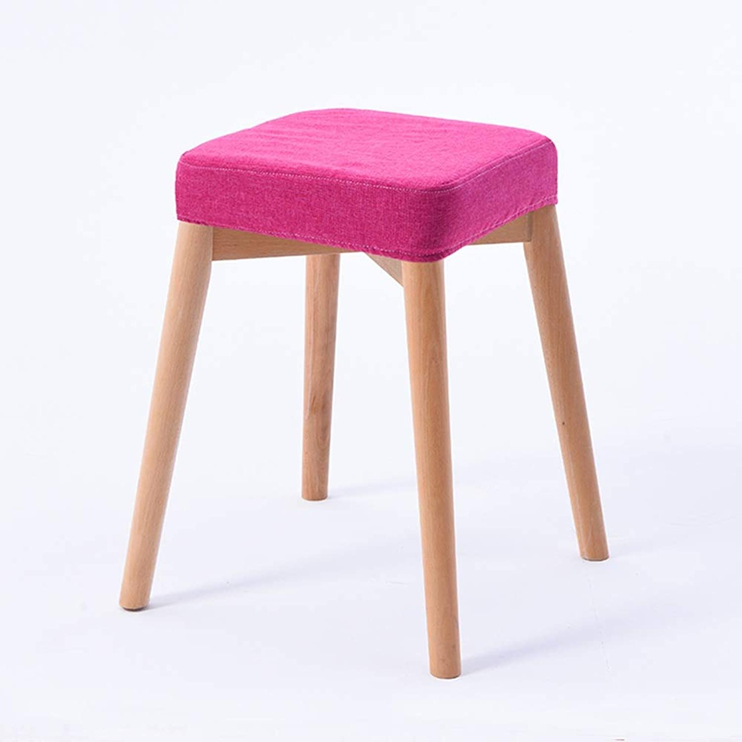 XSJJ Stool, Home Solid Wood Fabric Living Room Fabric Adult Sofa Restaurant Stool Small Stool 4 color Optional Wooden Bench (color   Wood pink, Size   31  31  46cm)