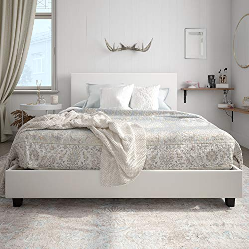 Carley Upholstered Bed, White Faux Leather, Queen