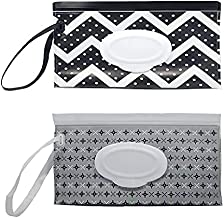 Portable Refillable Wet Wipes Dispenser, Baby Wipes case Pouch for Diaper Bag, Reusable Travel Wet Wipe Holder (2 Pack) (A1)