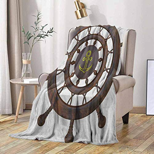 RenteriaDecor Ships Wheel Bed Throws Wooden Steering Wheel of The Ship with Anchor Pattern History Antiques Rustic Style 40x50 Inch Fleece Blankets for Couch Bed Sofa