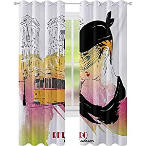 Crib Bedding And Baby Bedding Blackout Curtains Bedroom, Lady With Vintage Hat Posing In Front Of Tramway Sketch Retro Romantic Art, Curtains For Baby Nursery Room, Orange Pink Black