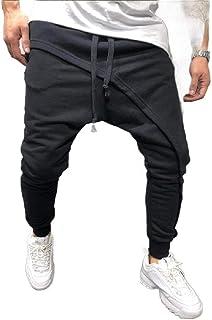 Doufine Mens Patchwork Low Crotch Comfy Drawstring Athletic Joggers Pants