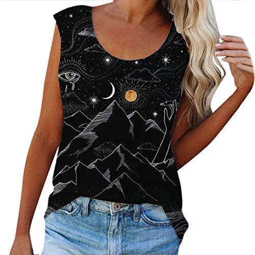VEMOW Chaleco sin Mangas para Mujer Cuello Redondo, Blusa Camiseta de Tirantes de Verano Playa Moda Informal Camisetas Suelta Elegante Casual Cami Camiseta Camisola(D F,L)