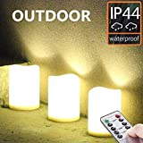 Set of 3 Outdoor IP44 Warm White LED Rainproof Waterproof Flameless Battery LED Pillar Candles…