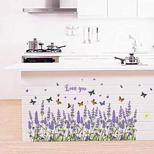 Mr.S Shop Lavender Baseboard and Butterfly Creative DIY Flower Wall Sticker Entrance Kitchen Bathroom Bedroom Living Room Wall Sticker Flower