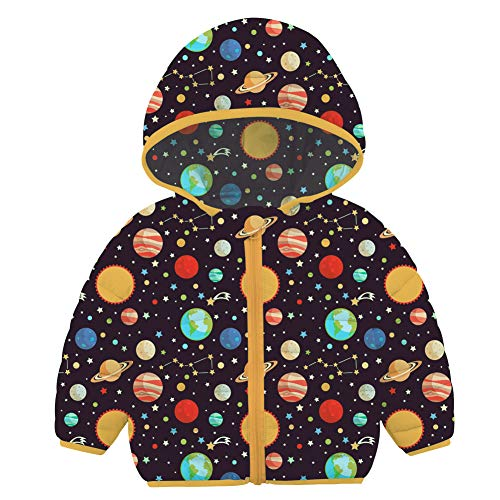 Kids4ever - Abrigo de invierno con capucha para bebé (0 a 36 meses) Planeta Espacial 12-18 Meses