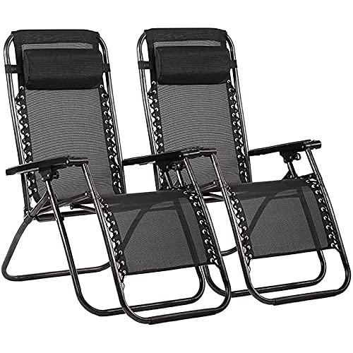 FC-Bed Silla de Gravedad del Patio Cero, Conjunto de 2, reclinadores al Aire Libre con ángulo Ajustable, sillón de chaiseo Plegable para césped Junto a la Piscina Camping