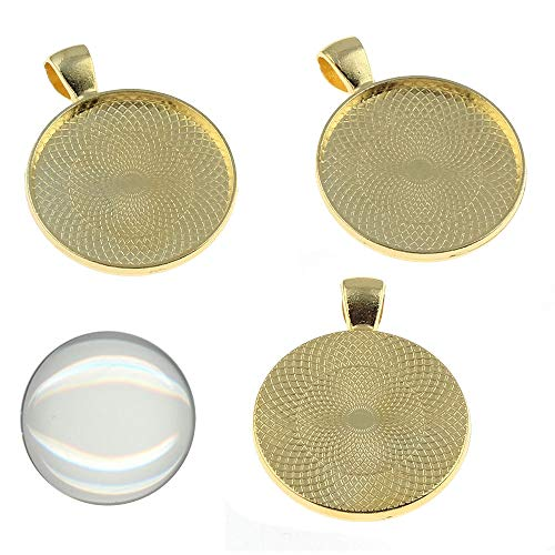 Perlin 4 Set Medaillons Metall Anhänger Fassungen und 25mm Rund Klar Glas Cabochon, Fassung Rahmen Super Optik Bastelset (Gold)