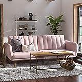 Novogratz Brittany Sofa Futon - Premium Upholstery and Wooden Legs - Pink