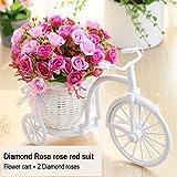 Blanchel Cesta de flores de punto de bicicleta Muebles Flor de simulación Flores artificiales para el hogar Decoraciones de boda Día de San Valentín