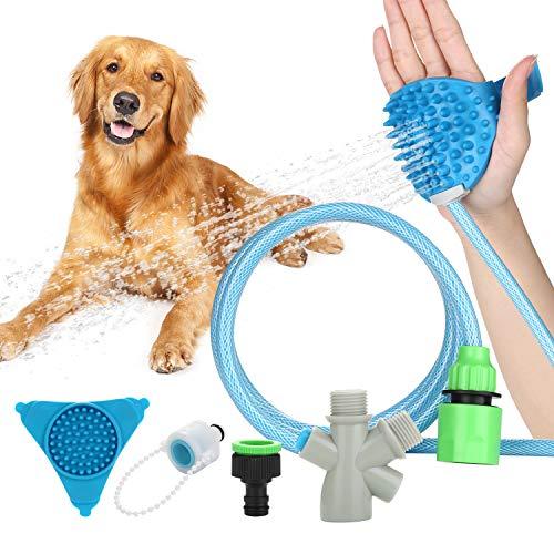 WADEO Haustier-Badegerät für die Fellpflege, Haustier Duschkopf, Hundedusche Haustier Duschkopf mit Bürste, Interaktives Lecken-Pad mit Saugnapf für Dusche