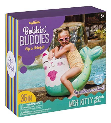 Toysmith Bobbin' Buddies Flotador de Agua Inflable Mer Kitty