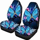 Fundas de asiento de coche con diseño de mariposa azul Durable 2 piezas Manta de silla de montar elástica Fácil de instalar Quitar la funda lavable Protector decorativo suave y cómodo Se adapta a la