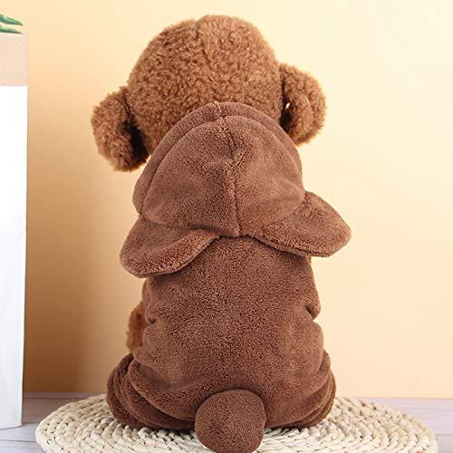 Yanmeng Capucha Perro, Ropa, suéteres Jersey de Lana, 4-Pierna de la Chaqueta Sudadera Chaqueta de algodón (para Perros pequeños) Tamaño: (Rojo) M (Color : Brown)