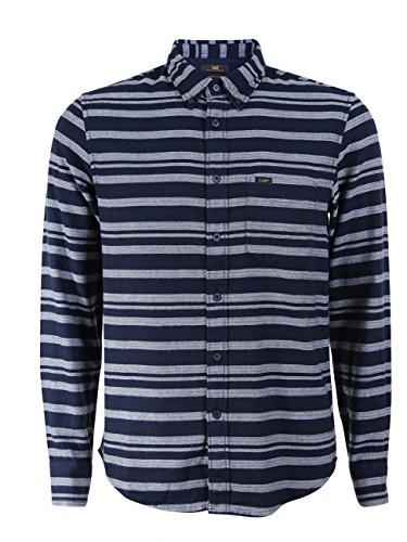 Lee Camisa de hombre con botones Down Stripe – Regular Fit Sky Captain (Hy) M
