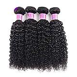 AJIAFA Femme Cheveux Naturel Brésilienne Cheveux Bresilien Tissage Vague Brésilienne De Cheveux Humains 1 Bundles Tissage Bresilien Boucle Rideau de Cheveux,Black,10inches