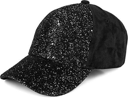 styleBREAKER 6-Panel Cap mit Pailletten und Veloursleder, Wildleder Optik, Baseball Cap, verstellbar, Damen 04023050, Farbe:Schwarz
