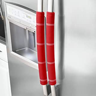 JoJo Refrigerator Door Handle Covers Handmade Decor Protector for Ovens, Dishwashers.Keep Your Kitchen Appliance Clean from Smudges,Food Stains (red, 15.74