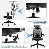INTEY Bürostuhl Schreibtischstuhl ergonomischer Drehstuhl mit verstellbare Kopfstütze und Armlehnen, Höhenverstellung und Wippfunktion für Soho- oder Büroarbeit, Belastbar bis 150kg - 6