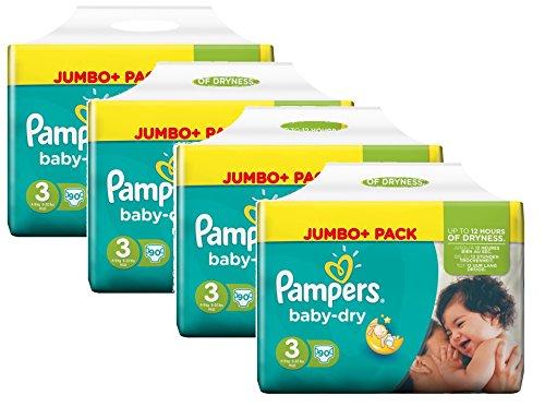 Pampers Baby Dry Taglia 3midi 4-9kg Jumbo Plus, pacco da 4Confezioni (4x 90pannolini)