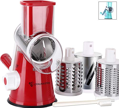 LOYALMASTER Manual Cheese Shredder Rotary Mandoline - Round Drum Grater Vegetable Slicer - Easy to Clean Hand Crank for Walnuts, Potato, Nut Grinder -3 Drums - Strong Suction Base and Cleaning Brush