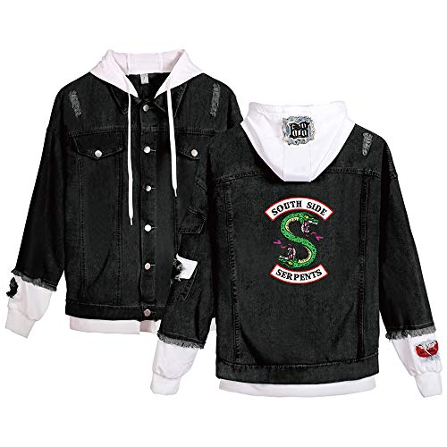 EnjoyYourLife Riverdale Serpents Giacca Jeans Riverdale Southside Serpents Felpa Donna Felpa con Cappuccio Casual Denim Jacket Manica Lunga Loose Jeans Cappotto Tops Splice Jean Jacket