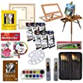 Artist Painting Set W/Table-Top & Full Easel, Art Painting Brushes, Paint Tubes, Painting Pads, Stretched Canvas, Painting Knives for Oil, Watercolor, Acrylic Painting & Art Sketch