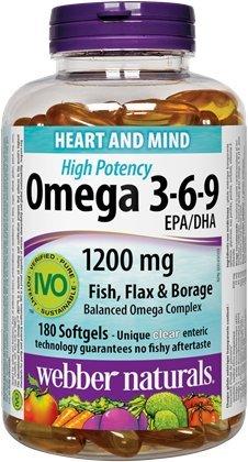 Webber Naturals Omega 3-6-9 High Potency 1200 mg · Fish, Flax & Borage, 180 softgels