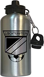 Liechtenstein Soccer Water Bottle Silver