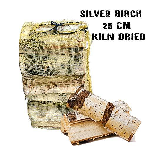 Silberfarbene Birke ofengetrocknete Hartholzscheite, 25 l Netz. - 18% Feuchtigkeit - Perfektes Brennholz für Brennholz, Holzofen, offene Feuer, Pizzaöfen
