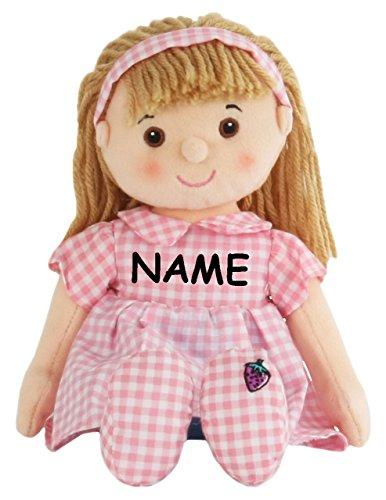alles-meine.de GmbH große Schmusepuppe -  Mädchen mit rosa Kleid  - incl. Name - Stoffpuppe 33 cm - aus Plüsch Puppe - Stoff / Blondes Haar - Stoffpuppen Schmusepuppen / Puppen..