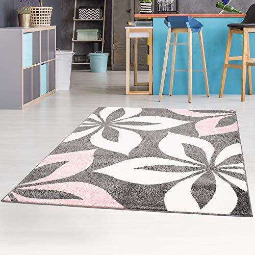 carpet city Teppich-Läufer mit Blumen Modern Flachflor in Rosa für Wohnzimmer, Kinderzimmer; Größe: 80x150 cm
