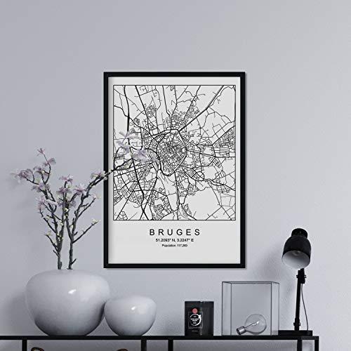 Nacnic Drucken Stadtplan Brügge skandinavischen Stil in schwarz und weiß. A3 Größe Plakat Das Bedruckte Papier Keine 250 gr. Gemälde, Drucke und Poster für Wohnzimmer und Schlafzimmer