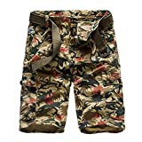 QSAWAL& 100% Cotton Camouflage Military Cargo Shorts Men 2019 Casual Mens Loose Work Cargo Shorts Male Short Pants Hombre 1101Khaki 38