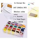 MUMUWUEUR Multicolor de Hilos de Coser Bordado Starter Kit Principiantes con el Almacenamiento de la Caja 50 Hilos de Color de Punto de Cruz Herramientas de Bricolaje mamá de Costura Set