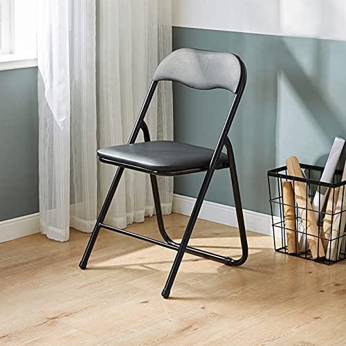 Folding chair Taburete Plegable, Silla De Comedor, Taburete De Ocio De Jardín, Cómodo Y Estable, con Respaldo, Negro