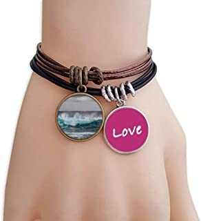 Sea Ocean Wave Science Nature Picture Love Bracelet Leather Rope Wristband Couple Set