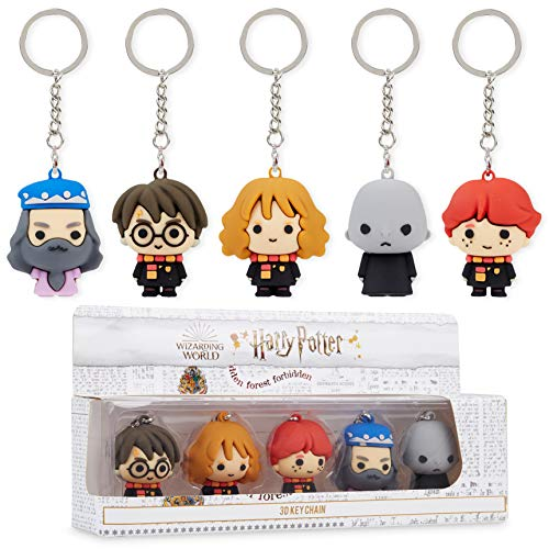 Harry Potter Toys, Pack of 5 Collectable 3D Mini Figures, Rubber Key Chain for Party Bag Fillers, Official Merchandise Gifts for Boys Girls