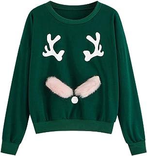 Fossen MuRope Navidad Sudaderas Adolescentes Chicas de Impresión de Asta, Sudaderas Mujer Tumblr sin Capucha - Pullover Bl...