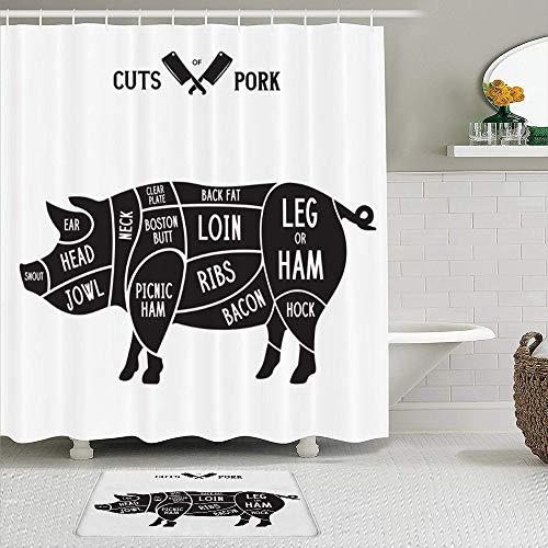 RUBEITA 2-teiliges Duschvorhang-& Matten-Set,Schweinefleisch Essen Fleisch Retro Schnitte,rutschfeste Teppiche,wasserdichte Badvorhänge mit 12 Haken