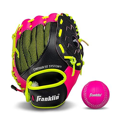 Franklin Sports Teglobe Gant de Baseball en Cuir synthétique pour gaucher et droitier avec Balle Rose 23,8 cm